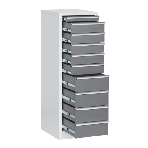 Enlarged stationary drawer units